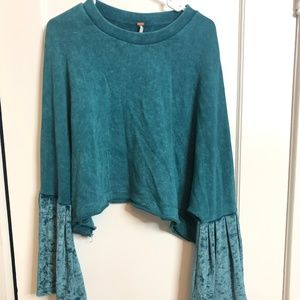 We The Free Turquoise Bell Sleeve Crop